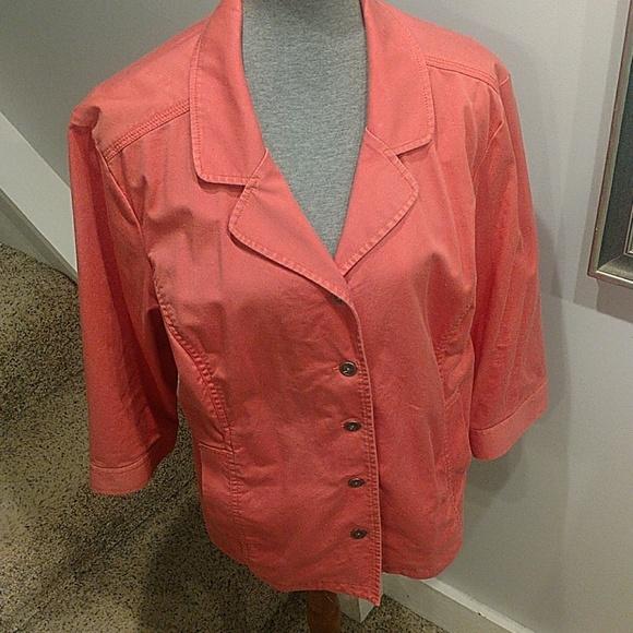 Chico's Cotton Peach Jacket Size 3